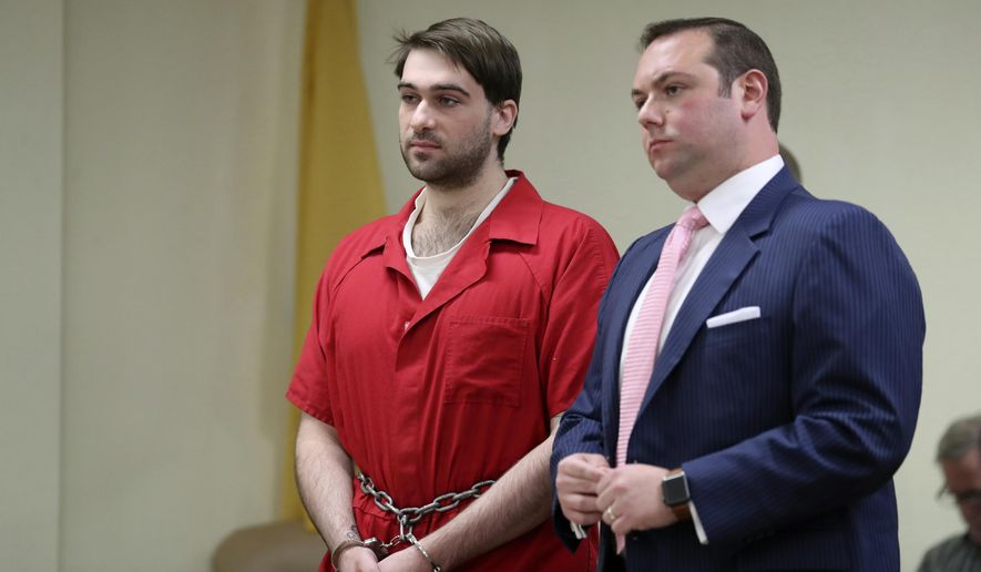 David Creato stands with his lawyer Richard J. Fuschino Jr.  as he is sentenced to a 10-year prison term for killing his 3-year-old son, in Camden County Superior Court Friday, Sept. 29, 2017, in Camden, N.J. (David Swanson /The Philadelphia Inquirer via AP, Pool)