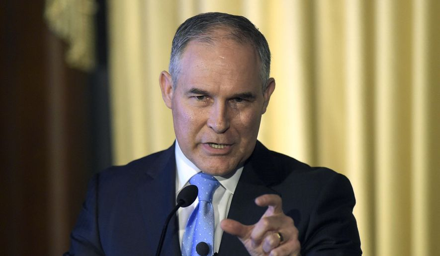 Scott Pruitt, as Oklahoma's attorney general, sued the federal government saying the Environmental Protection Agency that he now heads doesn't have authority under the federal Clean Air Act to enact such sweeping changes to how power plants are run. (Associated Press/File)