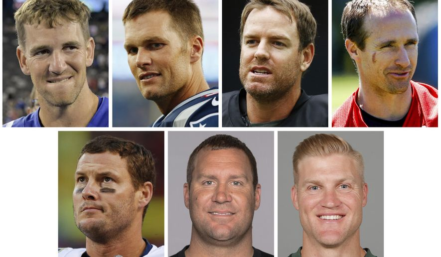 FILE - These are file photos show NFL football quarterbacks, from top left, Eli Manning, Tom Brady, Carson Palmer, Drew Brees, bottom from left, Philip Rivers, Ben Roethlisberger and Josh McCown. For first time ever, there are seven quarterbacks older than 35 starting this season, and collectively they're off to an awful start with seven wins and 14 losses. Take away Brady and Roethlisberger and the rest are 3-12. (AP Photo/File)
