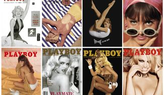 This combination photo of images released by Playboy, shows top row from left, Marilyn Monroe on the cover of the December 1953 issue, Janet Pilgrim on July 1955, Donna Michelle on May 1964 and Turid Lundberg on June 1965. Bottom row from left, Barbi Benton on the July 1969 issue, Anna Nicole Smith on June 1993,  Jenny McCarthy on January 2005 and Pamela Anderson on the January/February 2016 issue. (Playboy via AP)