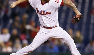 Philadelphia Phillies starting pitcher Ben Lively throws in the first inning of a baseball game against the New York Mets, Friday, Sept. 29, 2017, in Philadelphia. (AP Photo/Laurence Kesterson)