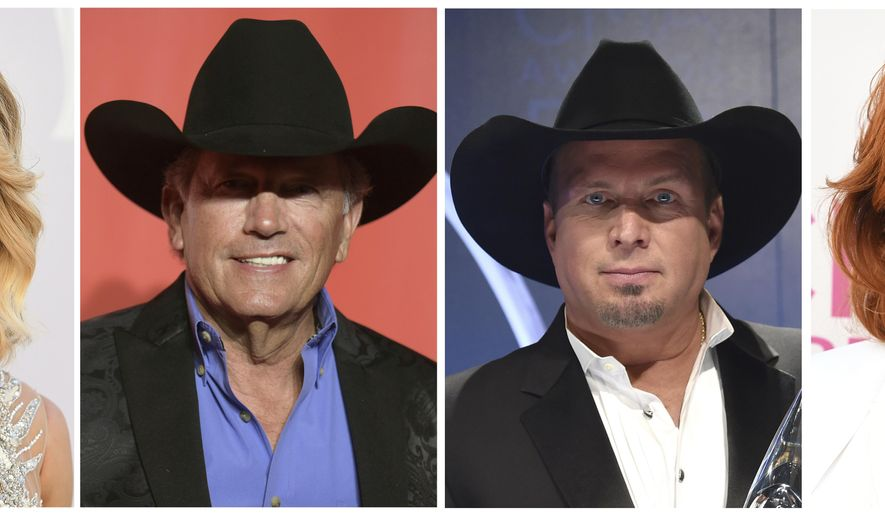 In this combination photo, Carrie Underwood appears at the 52nd annual Academy of Country Music Awards in Las Vegas on April 2, 2017, from left, George Strait arrives at the MusiCares Person of the Year tribute in Los Angeles on Feb. 10, 2017. Garth Brooks, appears at the 50th annual CMA Awards in Nashville, Tenn., on Nov. 2, 2016, and Reba McEntire arrives at the 52nd annual Academy of Country Music Awards in Las Vegas on April 2, 2017.  Underwood, Strait, Brooks and McEntire will play a benefit concert in Nashville on Nov. 12 to raise money for those affected by recent hurricanes. (AP Photo/File)