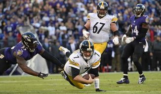 FILE - In this Nov. 6, 2016, file photo, Pittsburgh Steelers quarterback Ben Roethlisberger (7) dives past Baltimore Ravens outside linebacker Terrell Suggs, left, for a touchdown in the second half of an NFL football game in Baltimore. As early as it might be in the NFL schedule, several division games could be considered relatively critical in Week 4. That includes the best rivalry in the league, the Steelers against the Ravens. (AP Photo/Gail Burton, File)