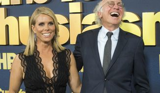 """Cheryl Hines and Larry David attend the premiere of HBO's """"Curb Your Enthusiasm"""" at the SVA Theatre on Wednesday, Sept. 27, 2017, in New York. (Photo by Charles Sykes/Invision/AP)"""