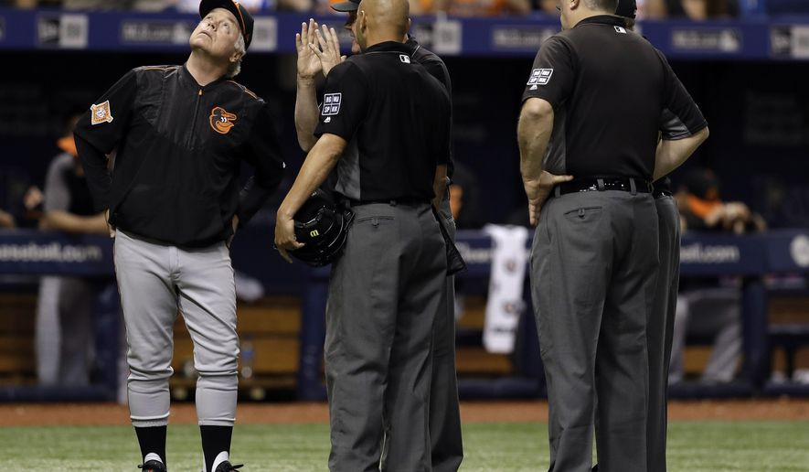 Baltimore Orioles manager Buck Showalter, left, looks up at the catwalk with the umpiring crew, including home plate umpire Vic Carapazza, center, and Bill Welke, right, after Tampa Bay Rays' Cesar Puello pop-up hit a ring over home plate and landed fair during the fourth inning of a baseball game Friday, Sept. 29, 2017, in St. Petersburg, Fla. (AP Photo/Chris O'Meara)