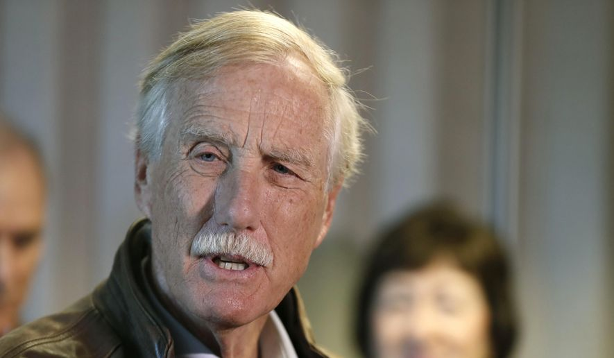 Sen. Angus King, I-Maine, speaks at a news conference at Bath Iron Works, a shipbuilding facility in Bath, Maine, Friday, Sept. 29, 2017. (AP Photo/Robert F. Bukaty) ** FILE **