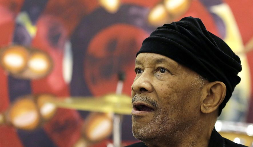 "Jazz musician Roy Ayers, looks on during his workshop with young music artist at Funda Centre in Soweto, South Africa, Friday, Sept. 29, 2017. Ayers, who is in South Africa for a jazz festival, radiated enthusiasm on Friday as he urged a couple of dozen people at an arts center to ""vibe on"" role models even if they don't always meet expectations. (AP Photo/Themba Hadebe)"