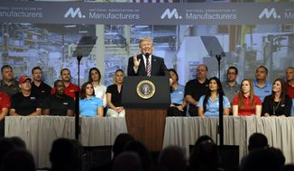 President Donald Trump speaks to the National Association of Manufactures at the Mandarin Oriental hotel, Friday, Sept. 29, 2017, in Washington. (AP Photo/Evan Vucci)