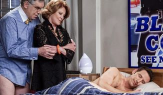 "This image released by CBS shows Elliott Gould, from left, Linda Lavin and Mark Feuerstein in a family comedy ""9JKL."" The show is one of eight new series coming to CBS in the 2017-18 season. (Cliff Lipson/CBS via AP)"