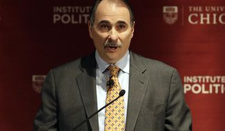 "FILE - This Jan. 19, 2012 file photo shows David Axelrod, former senior advisor to President Barack Obama, speaking during a panel discussion, ""2012: The Path to the Presidency"", at the University of Chicago in Chicago. Axelrod hosts ""The Axe Files"" airing Saturday at 7p.m. Eastern. (AP Photo/Nam Y. Huh, file)"