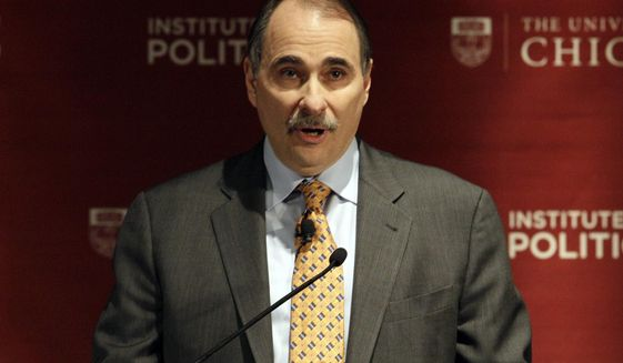 """FILE - This Jan. 19, 2012 file photo shows David Axelrod, former senior advisor to President Barack Obama, speaking during a panel discussion, """"2012: The Path to the Presidency"""", at the University of Chicago in Chicago. Axelrod hosts """"The Axe Files"""" airing Saturday at 7p.m. Eastern. (AP Photo/Nam Y. Huh, file)"""