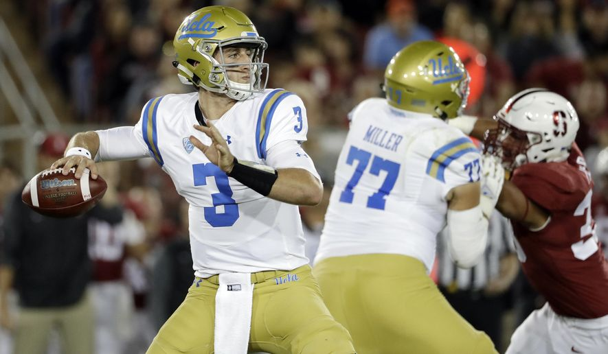 UCLA quarterback Josh Rosen (3) prepares to throw a pass against UCLA during the first half of an NCAA college football game Saturday, Sept. 23, 2017, in Stanford, Calif. (AP Photo/Marcio Jose Sanchez)
