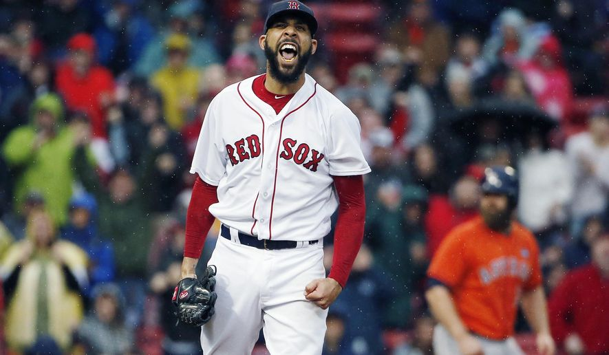 Boston Red Sox's David Price reacts after striking out Houston Astros' George Springer to retire the side with the bases loaded in the seventh inning of a baseball game in Boston, Saturday, Sept. 30, 2017. (AP Photo/Michael Dwyer)