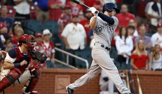 Milwaukee Brewers' Brett Phillips, right, strikes out swinging as St. Louis Cardinals catcher Carson Kelly watches for the final out of a baseball game Saturday, Sept. 30, 2017, in St. Louis. (AP Photo/Jeff Roberson)