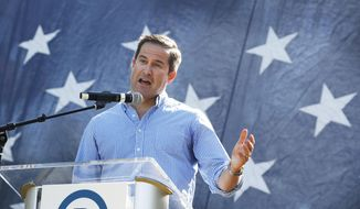 U.S. Rep. Seth Moulton, D-Mass., speaks during the Polk County Democrats Steak Fry, Saturday, Sept. 30, 2017, in Des Moines, Iowa. (AP Photo/Charlie Neibergall) ** FILE **
