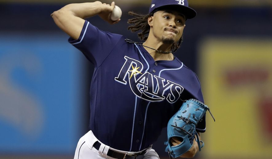 Tampa Bay Rays' Chris Archer pitches to the Baltimore Orioles during the first inning of a baseball game Saturday, Sept. 30, 2017, in St. Petersburg, Fla. (AP Photo/Chris O'Meara)