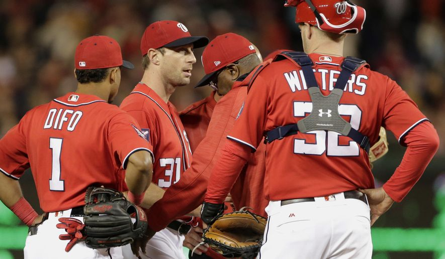Washington Nationals starting pitcher Max Scherzer is pulled during the fourth inning of a baseball game against the Pittsburgh Pirates, Saturday, Sept. 30, 2017, in Washington. (AP Photo/Mark Tenally)