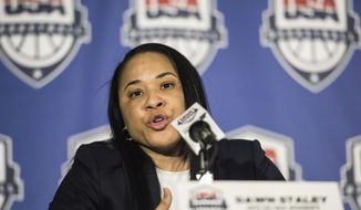 FILE - In this March 10, 2017, file photo, Dawn Staley addresses the media during a news conference in Columbia, S.C. Staley is excited to lead her first USA Basketball camp as coach of the national team. She will oversee three days of training in Santa Barbara, Calif., this weekend. Originally 30 players were supposed to attend, but that number is down to 18 because of the WNBA Finals and some injuries. (AP Photo/Sean Rayford, File)