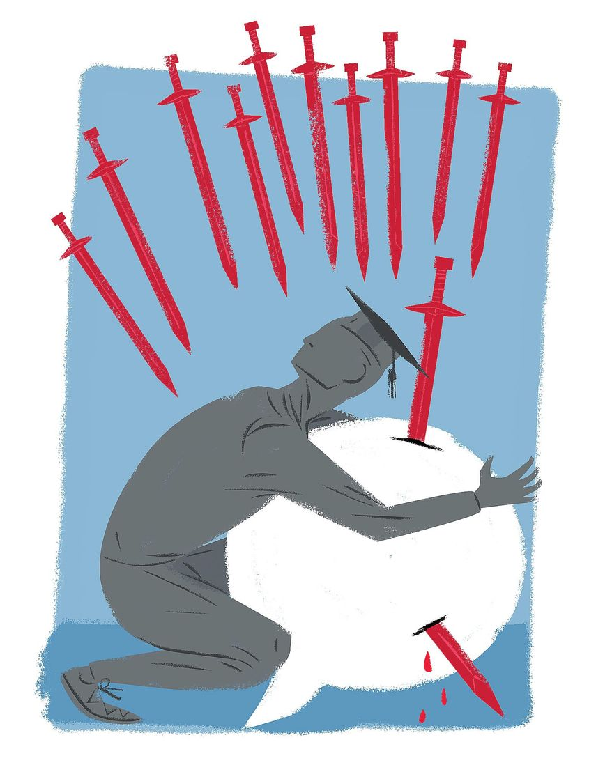Illustration on protecting freedom of thought and speech on college campuses by Linas Garsys/The Washington Times