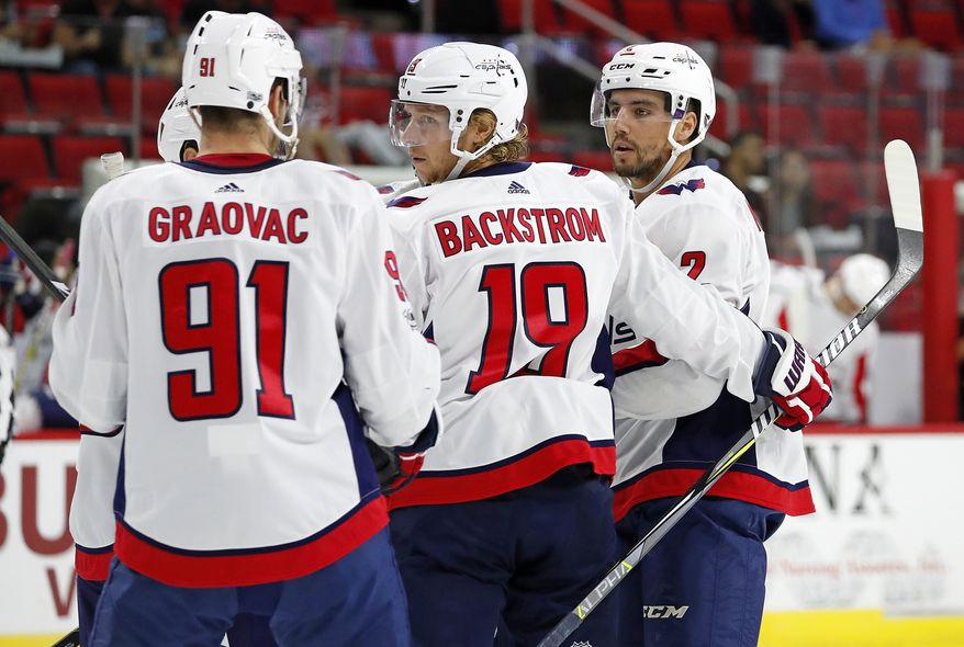 Nicklas Backstrom (19) joins a team huddle during the second period of an NHL hockey game against the Carolina Hurricanes, Friday, Sept. 29, 2017, in Raleigh, N.C. (AP Photo/Karl B DeBlaker)