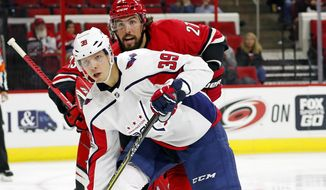 Washington Capitals' Alex Chiasson (39) battles Carolina Hurricanes' Justin Faulk (27) during the second period of an NHL hockey game, Friday, Sept. 29, 2017, in Raleigh, N.C. (AP Photo/Karl B DeBlaker)