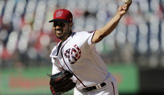 Washington Nationals starting pitcher Gio Gonzalez delivers during the first inning of a baseball game against the Pittsburgh Pirates, Sunday, Oct. 1, 2017, in Washington. (AP Photo/Mark Tenally)