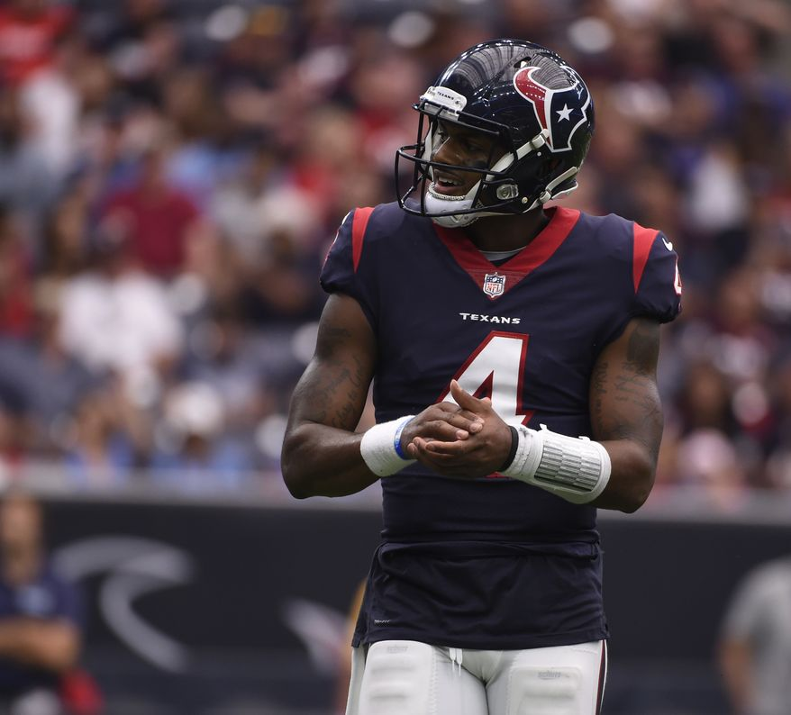 Houston Texans quarterback Deshaun Watson is shown during the second half of an NFL football game, Sunday, Oct. 1, 2017, in Houston. (AP Photo/Eric Christian Smith)