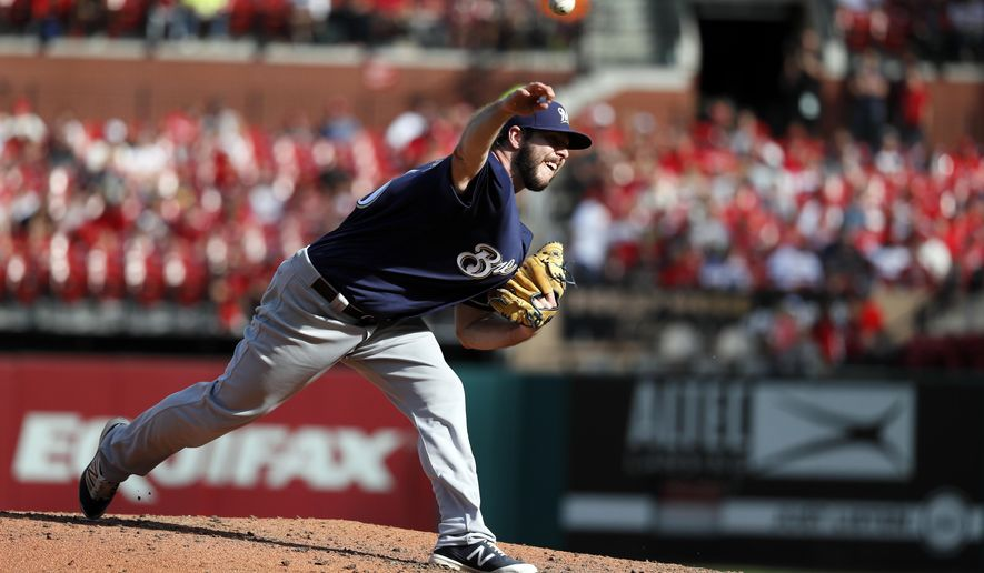 Milwaukee Brewers starting pitcher Aaron Wilkerson throws during the sixth inning of a baseball game against the St. Louis Cardinals Sunday, Oct. 1, 2017, in St. Louis. (AP Photo/Jeff Roberson)
