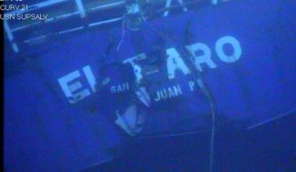 FILE - This undated image made from a video released April 26, 2016, by the National Transportation Safety Board shows the stern of the sunken ship El Faro. In a report released Sunday, Oct. 1, 2017, the Coast Guard says the primary cause of the sinking of a cargo ship two years ago that killed all 33 aboard was Capt. Michael Davidson misreading both the strength of a hurricane and his overestimation of the ship's strength. (National Transportation Safety Board via AP, File)