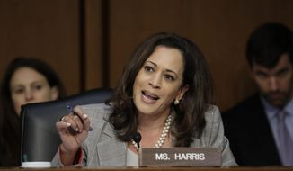 In a Tuesday, June 13, 2017, file photo, Sen. Kamala Harris, D-Calif., questions Attorney General Jeff Sessions testifies before the Senate Select Committee on Intelligence about his role in the firing of FBI Director James Comey, on Capitol Hill in Washington. (AP Photo/J. Scott Applewhite, File)