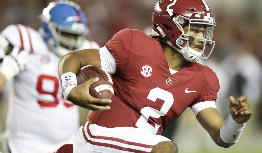 Alabama quarterback Jalen Hurts runs the ball against Mississippi during the first half of an NCAA college football game, Saturday, Sept. 30, 2017, in Tuscaloosa, Ala. (AP Photo/Brynn Anderson)