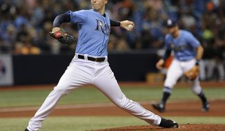 Tampa Bay Rays starter Blake Snell pitches against the Baltimore Orioles during the fifth inning of a baseball game Sunday, Oct. 1, 2017, in St. Petersburg, Fla. (AP Photo/Steve Nesius)
