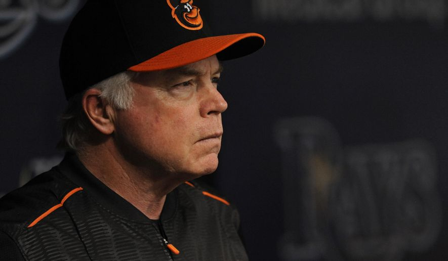 Baltimore Orioles manager Buck Showalter watches from the dugout during the first inning of a baseball game against the Tampa Bay Rays Sunday, Oct. 1, 2017, in St. Petersburg, Fla. (AP Photo/Steve Nesius)