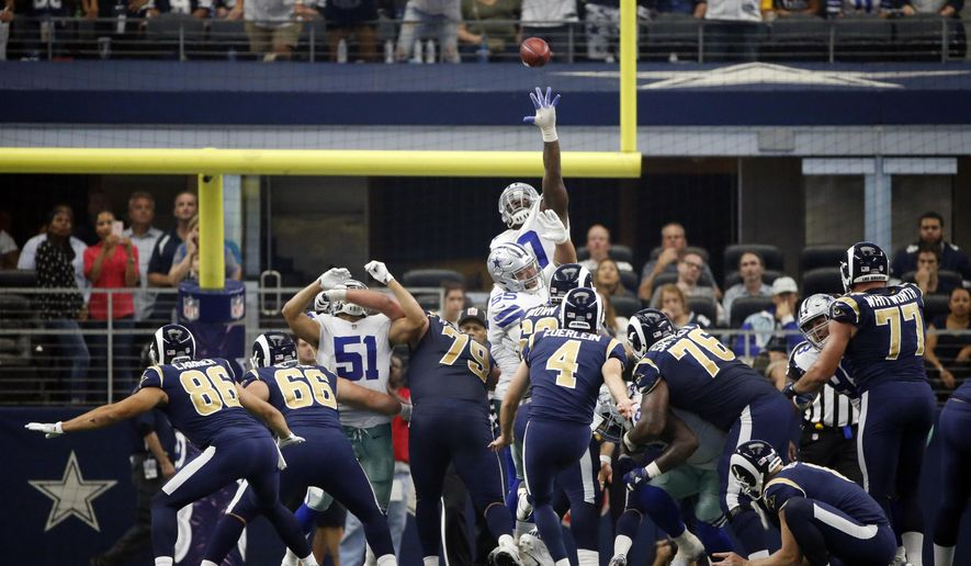 Los Angeles Rams place kicker Greg Zuerlein (4) kicks a field goal against the Dallas Cowboys in the second half of an NFL football game, Sunday, Oct. 1, 2017, in Arlington, Texas. (AP Photo/Ron Jenkins)