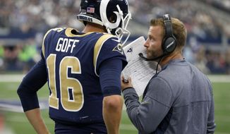 Los Angeles Rams quarterback Jared Goff (16) walks with head coach Sean McVay on the sideline in the second half of an NFL football game against the Dallas Cowboys on Sunday, Oct. 1, 2017, in Arlington, Texas. (AP Photo/Michael Ainsworth)