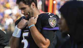 Baltimore Ravens quarterback Joe Flacco (5) walks along the sidelines during the second half of an NFL football game against the Pittsburgh Steelers in Baltimore, Sunday, Oct. 1, 2017. The Steelers defeated the Ravens 26-9. (AP Photo/Alex Brandon)