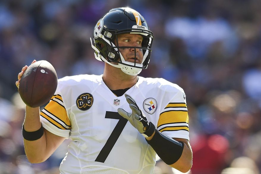 Pittsburgh Steelers quarterback Ben Roethlisberger (7) looks for a open man during the second half of an NFL football game against the Baltimore Ravens in Baltimore, Sunday, Oct. 1, 2017. (AP Photo/Gail Burton)