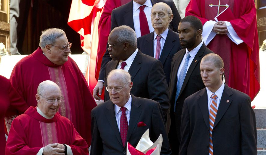 Supreme Court Justices Stephen G. Breyer (top), Clarence Thomas (center) and Anthony M. Kennedy attended the traditional Red Mass at St. Mathews Cathedral in Washington on Sunday before their new term. (Associated Press/File)