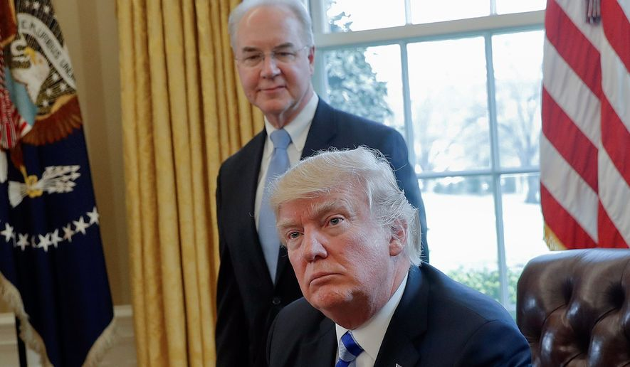 Former Health and Human Services Secretary Thomas Price (standing) resigned from his position Friday following a scandal about the cost of his travel. Office of Management and Budget Director Mick Mulvaney sent out a memo to agency heads about approving travel plans. (Associated Press photographs)