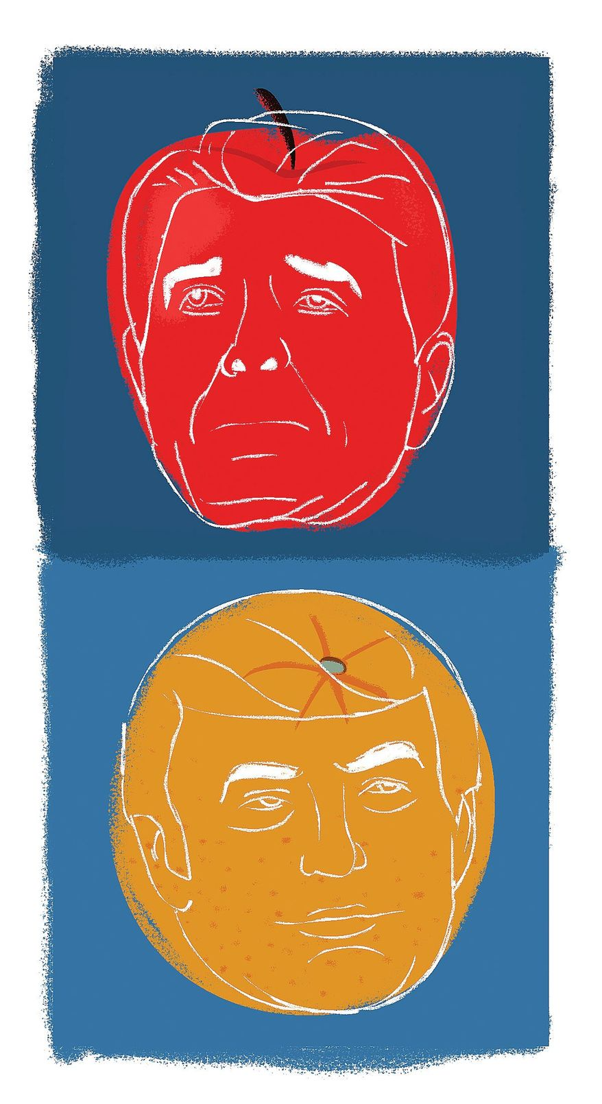 Illustration on not comparing Trump to Reagan by Linas Garsys/The Washington Times