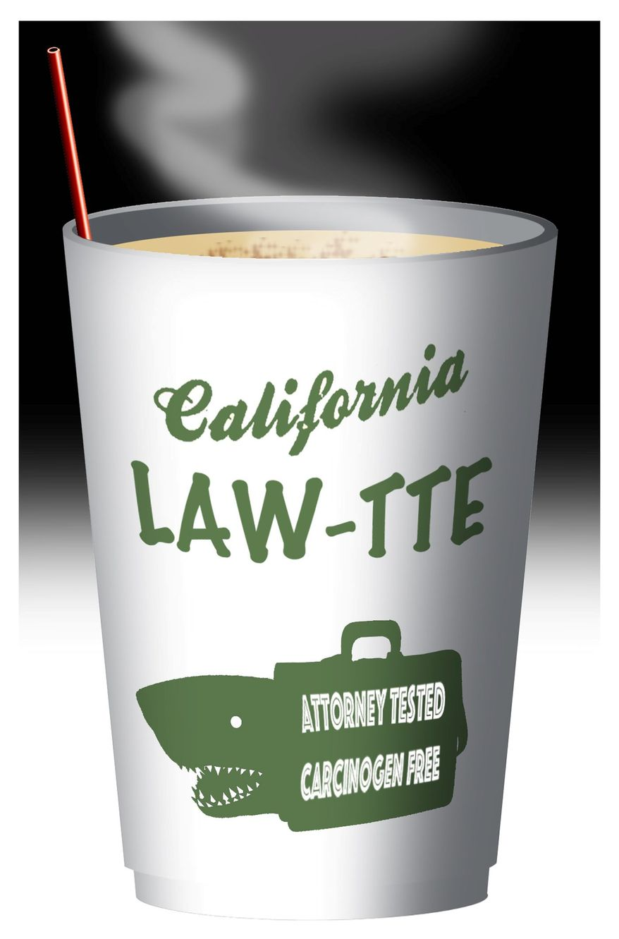 Illustration on the legal racket in California surrounding coffee by Alexander Hunter/The Washington Times