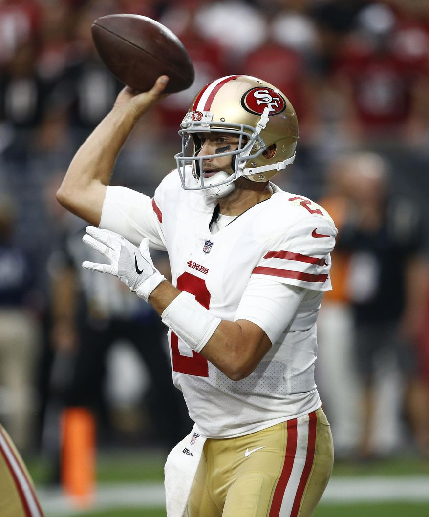 San Francisco 49ers quarterback Brian Hoyer (2) throws against the Arizona Cardinals during the second half of an NFL football game, Sunday, Oct. 1, 2017, in Glendale, Ariz. (AP Photo/Ross D. Franklin)