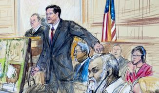 This courtroom sketch depicts Ahmed Abu Khattala listening to a interpreter through earphones during the opening statement by assistant U.S. attorney John Crabb, second from left, at federal court in Washington in the trial presided by U.S. District Judge Christopher Cooper, Monday, Oct. 2, 2017. Khattala, the suspected mastermind of the 2012 attacks on a diplomatic compound in Benghazi, Libya, that killed four Americans, is on trial. Defense attorney Jeffery Robinson, sits behind Crabb in a light blue suit and Michelle Peterson, also a member of the defense team, is at far right. (Dana Verkouteren via AP)