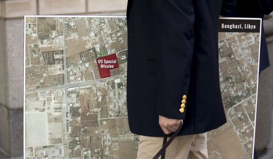 A map of Benghazi, Libya, was carried into federal court in the District of Columbia on Monday as a trial began for Ahmed Abu Khattala, the suspected mastermind of the 2012 attacks on a diplomatic compound that killed four Americans. (Associated Press)