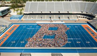The football field at Boise State University. (source: Facebook)