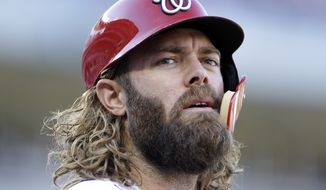 Washington Nationals' Jayson Werth waits to bat during a baseball game against the Pittsburgh Pirates, Sunday, Oct. 1, 2017, in Washington. (AP Photo/Mark Tenally)