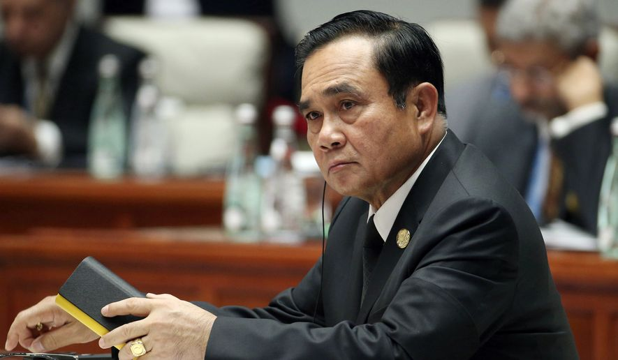 In this Sept. 5, 2017, file photo, Thailand's Prime Minister Prayuth Chan-ocha attends the Dialogue of Emerging Market and Developing Countries on the sidelines of the BRICS Summit in Xiamen, China. President Donald Trump hosts the Thailand's junta leader at the White House on Oct. 2, a rare instance of a military ruler being feted in Washington before even a nominal return to civilian rule.  (Wu Hong/Pool Photo via AP)