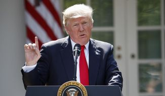 In this Thursday, June 1, 2017, file photo, President Donald Trump speaks about the U.S. role in the Paris climate change accord in the Rose Garden of the White House in Washington. (AP Photo/Pablo Martinez Monsivais, File)