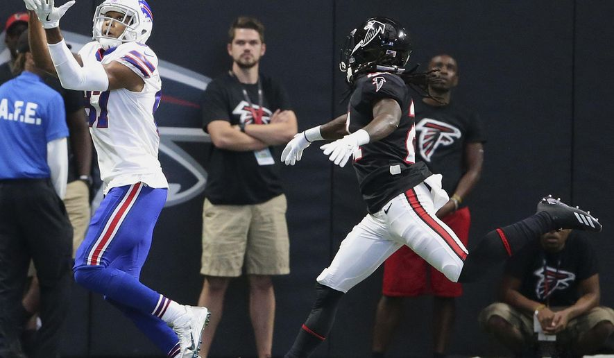 Buffalo Bills wide receiver Jordan Matthews (87) makes a touchdown catch against Atlanta Falcons cornerback Desmond Trufant (21) during the first half of an NFL football game, Sunday, Oct. 1, 2017, in Atlanta. (AP Photo/John Bazemore)