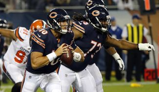 FILE- In this Aug. 31, 2017, file photo, Chicago Bears quarterback Mitchell Trubisky (10) scrambles during the first half of an NFL football game against the Cleveland Browns in Chicago. Trubisky, the No. 2 overall draft pick from North Carolina, will start against the Minnesota Vikings next Monday night, after Mike Glennon struggled in the first four games, a person familiar with the situation said Monday, Oct 2, 2017. The person spoke on the condition of anonymity because the team has not announced the move. (AP Photo/Charles Rex Arbogast, File)